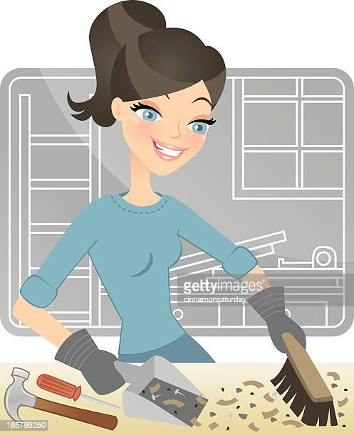renovation clean up - dustpan stock illustrations, clip art, cartoons, & icons