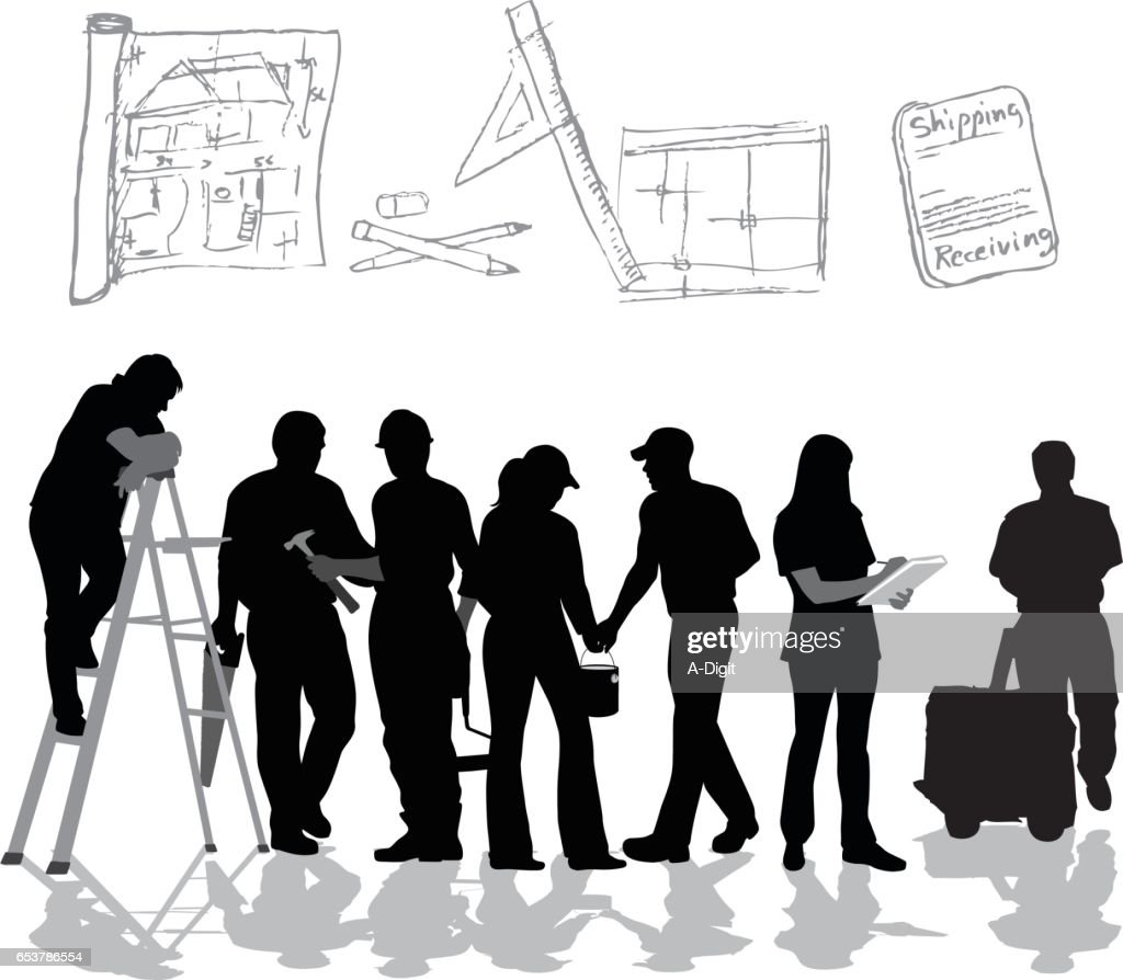 Renovation Crew Vector Silhouette : stock illustration