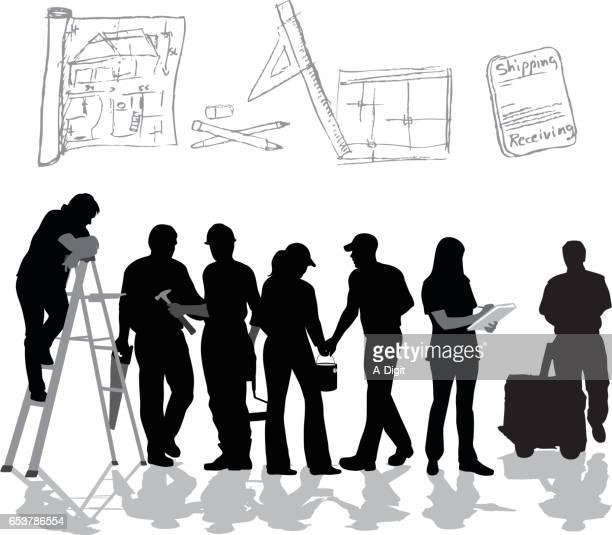 ilustraciones, imágenes clip art, dibujos animados e iconos de stock de renovación equipo vector silueta - adulto joven