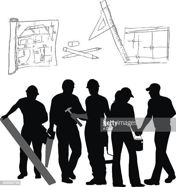 ilustrações, clipart, desenhos animados e ícones de renovation tools and trades vector silhouette - estereótipo de classe trabalhadora
