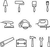 Renovation tools icon set