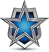 Renown vector silver emblem with pentagonal star, 3d element