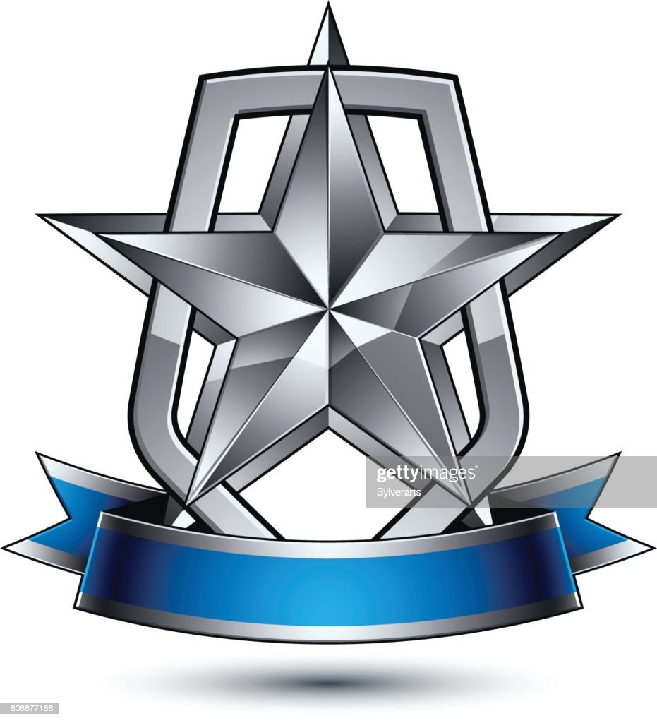 Renown vector silver star with wavy ribbon placed on a protection shield, 3d sophisticated pentagonal design element, clear EPS 8 emblem.