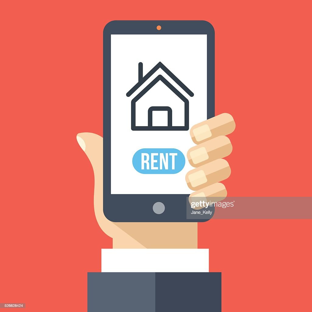 Rent house app on smartphone screen. Renting service. Vector illustration