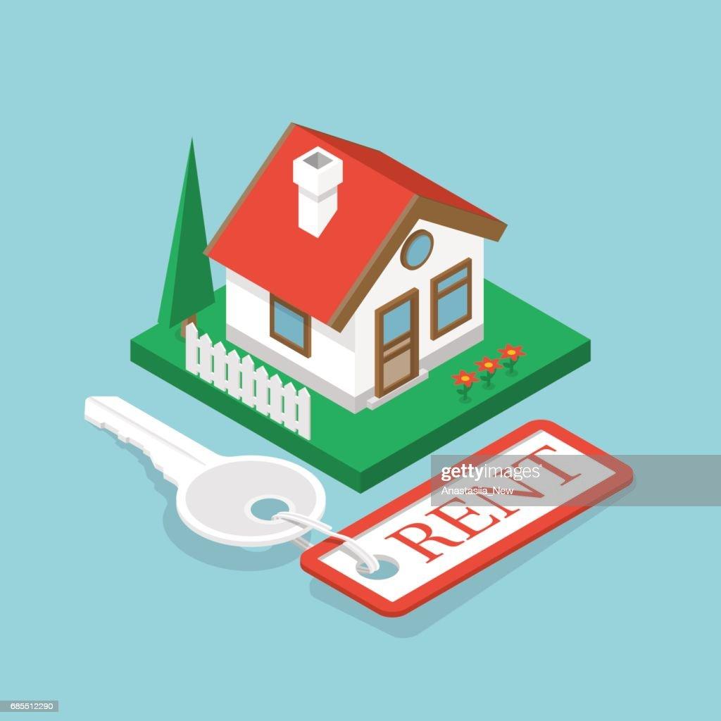 Rent house isometric design