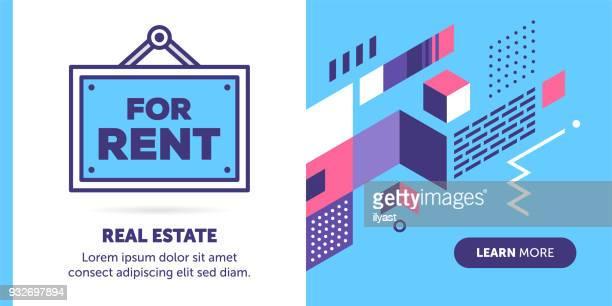 ilustraciones, imágenes clip art, dibujos animados e iconos de stock de bandera de señal de alquiler - propietario de casa