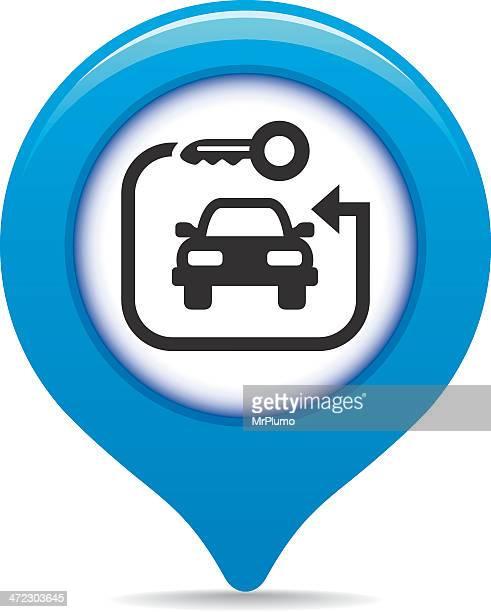 ilustraciones, imágenes clip art, dibujos animados e iconos de stock de rent-a-car mapa puntero - alquiler de coche