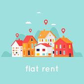 Rental of property. Cityscape. Flat design vector illustration.