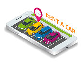 Renting a new or used car. car rental booking reservation on mobile smartphone. Used cars app. Vector illustration background.