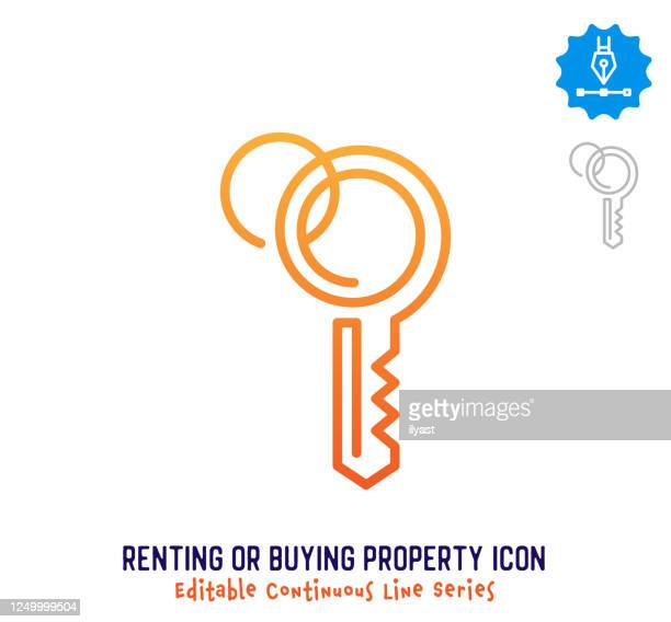 renting & buying property continuous line editable icon - key stock illustrations