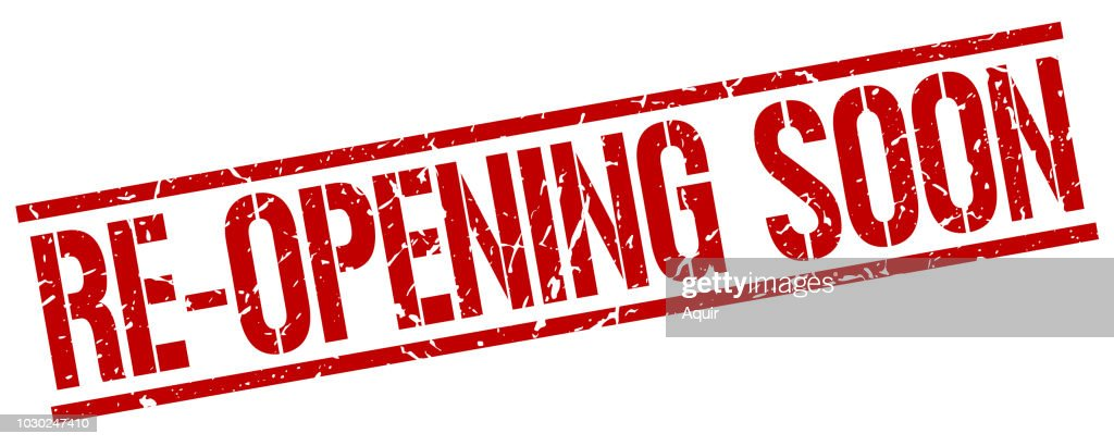 re-opening soon red grunge square vintage rubber stamp