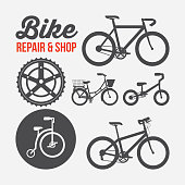 repair and shop the different bicycles sport transport poster