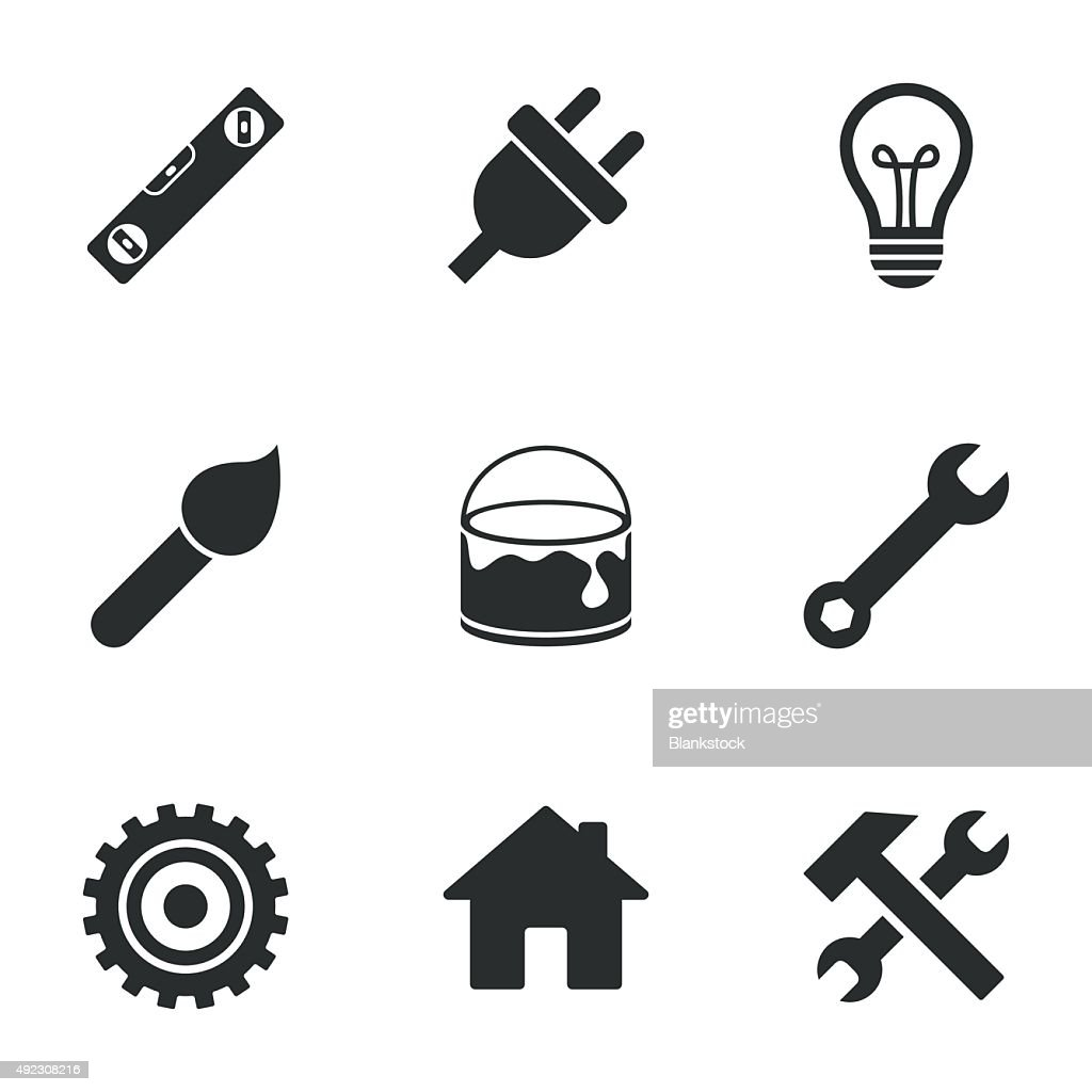 Repair, construction icons. Hammer, wrench tool