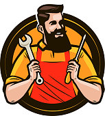 Repair, maintenance logo or label. Repairman holds in hands tools a wrench and screwdriver. Cartoon vector illustration