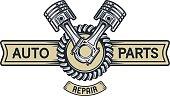 Repair service emblem, signboard.