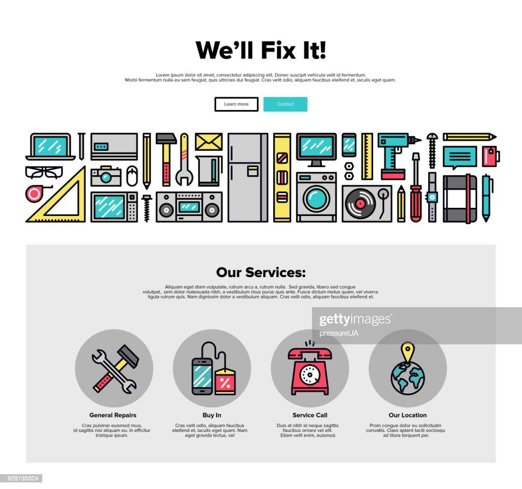 Repair service flat line web graphics