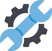 Repair service icon. Black cog, blue wrench icon. Repair logo