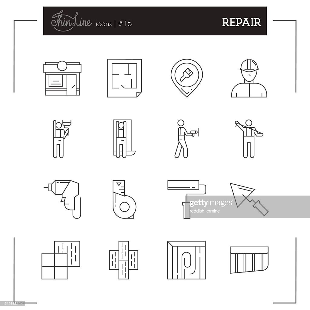 Repair, Tools, Materials and more thin line icons set.