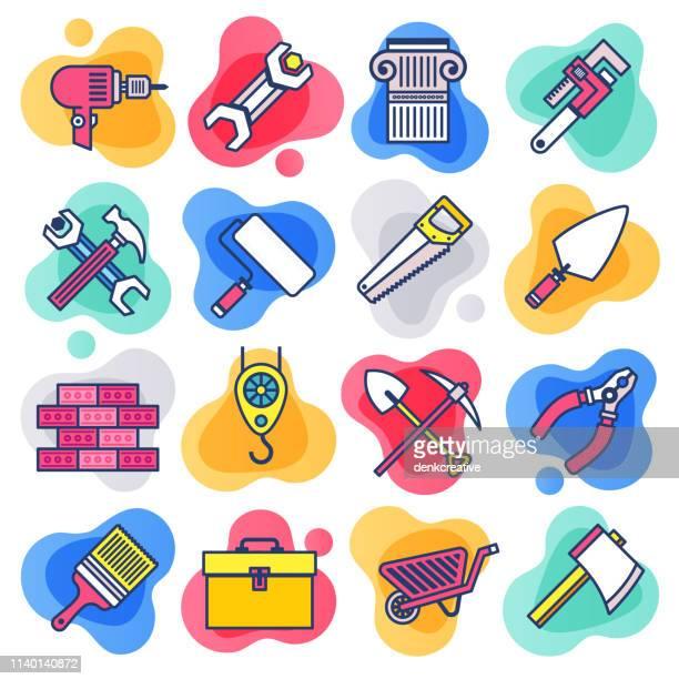 ilustraciones, imágenes clip art, dibujos animados e iconos de stock de reparación y mantenimiento servicios línea plana icono de vector de estilo líquido conjunto - caja de herramientas