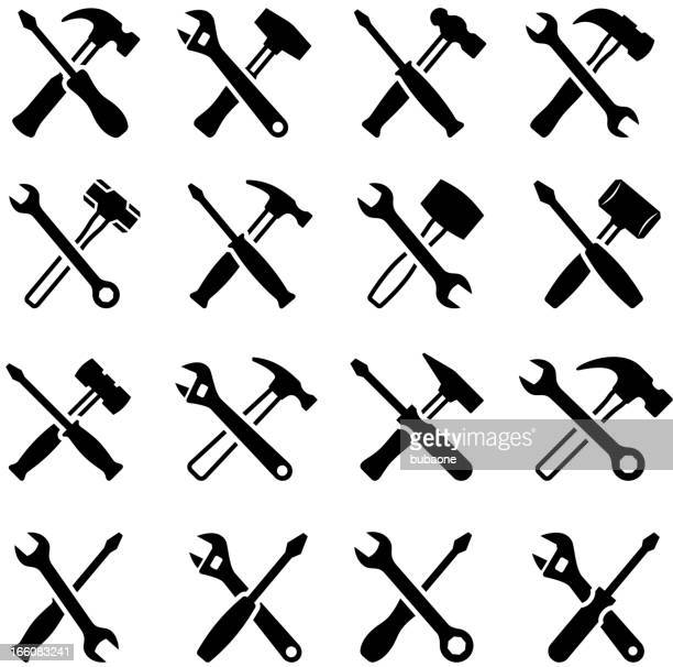 repairman construction tools black & white vector icon set - carpentry stock illustrations
