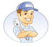 Repairman, Handyman, Mechanic, or Plumber with Wrench