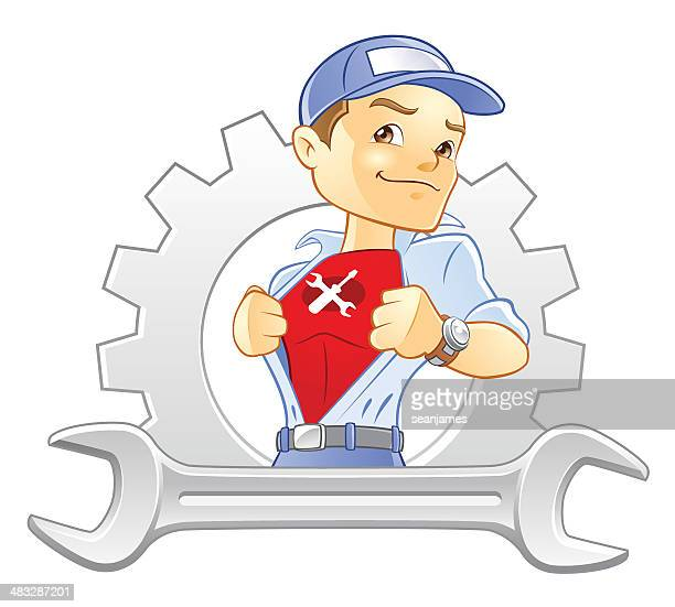Repairman, Handyman, Mechanic Super Hero with Wrench and Gear