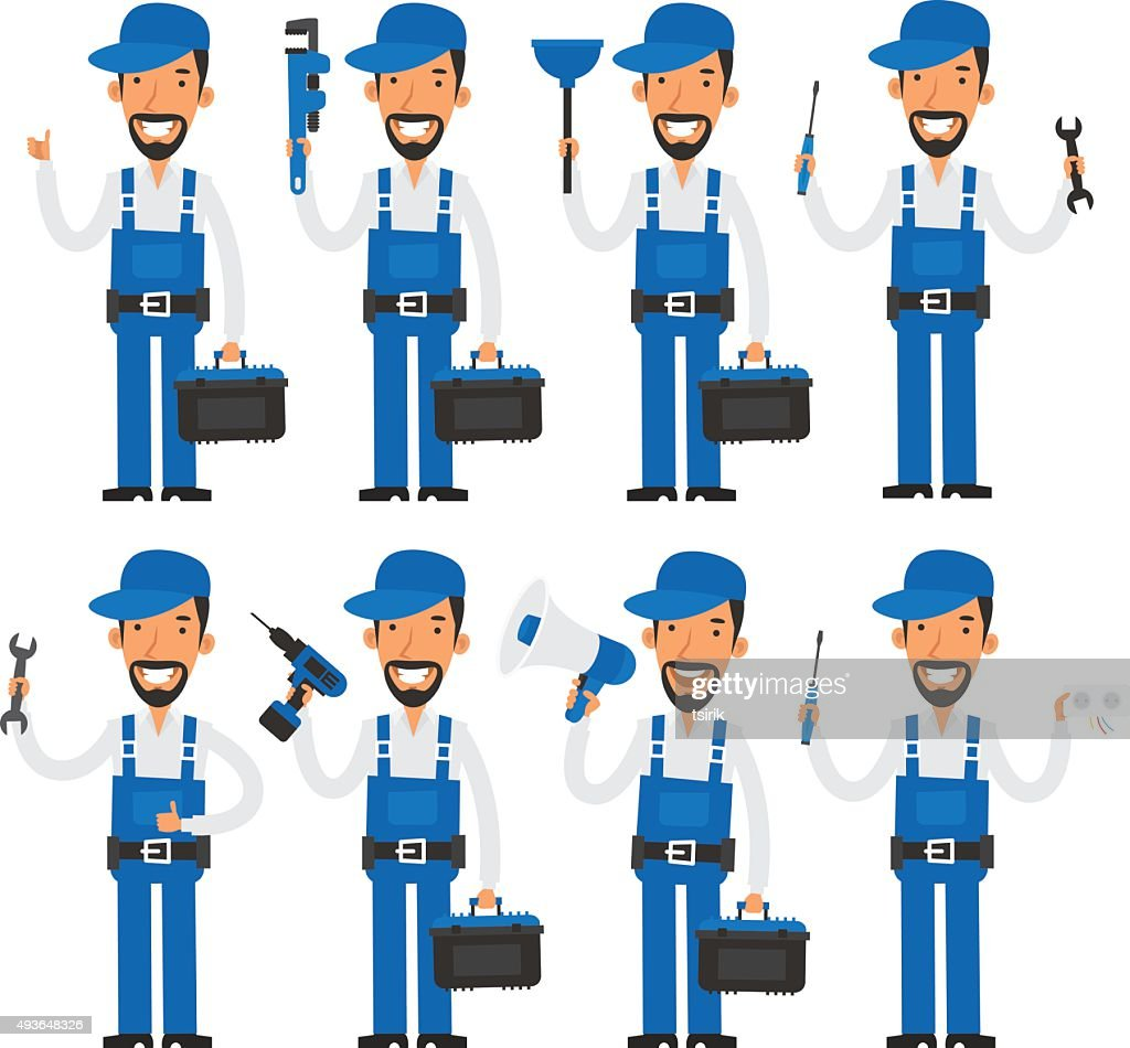 Repairman in different poses