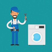 Repairman repairing household appliances