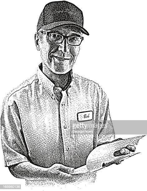 illustrations, cliparts, dessins animés et icônes de réparateur - chauffeur routier
