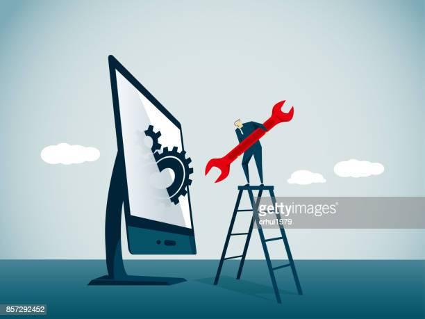 illustrazioni stock, clip art, cartoni animati e icone di tendenza di riparatore - attrezzatura informatica