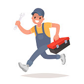 Repairman with the tools is running. Technical service. Vector illustration