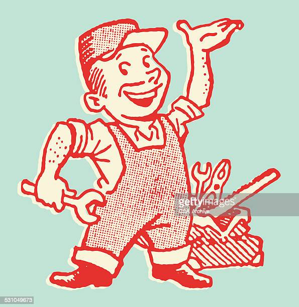 repairman with tools - plumber stock illustrations, clip art, cartoons, & icons