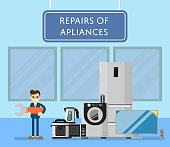 Repairs of appliances banner with electro technics