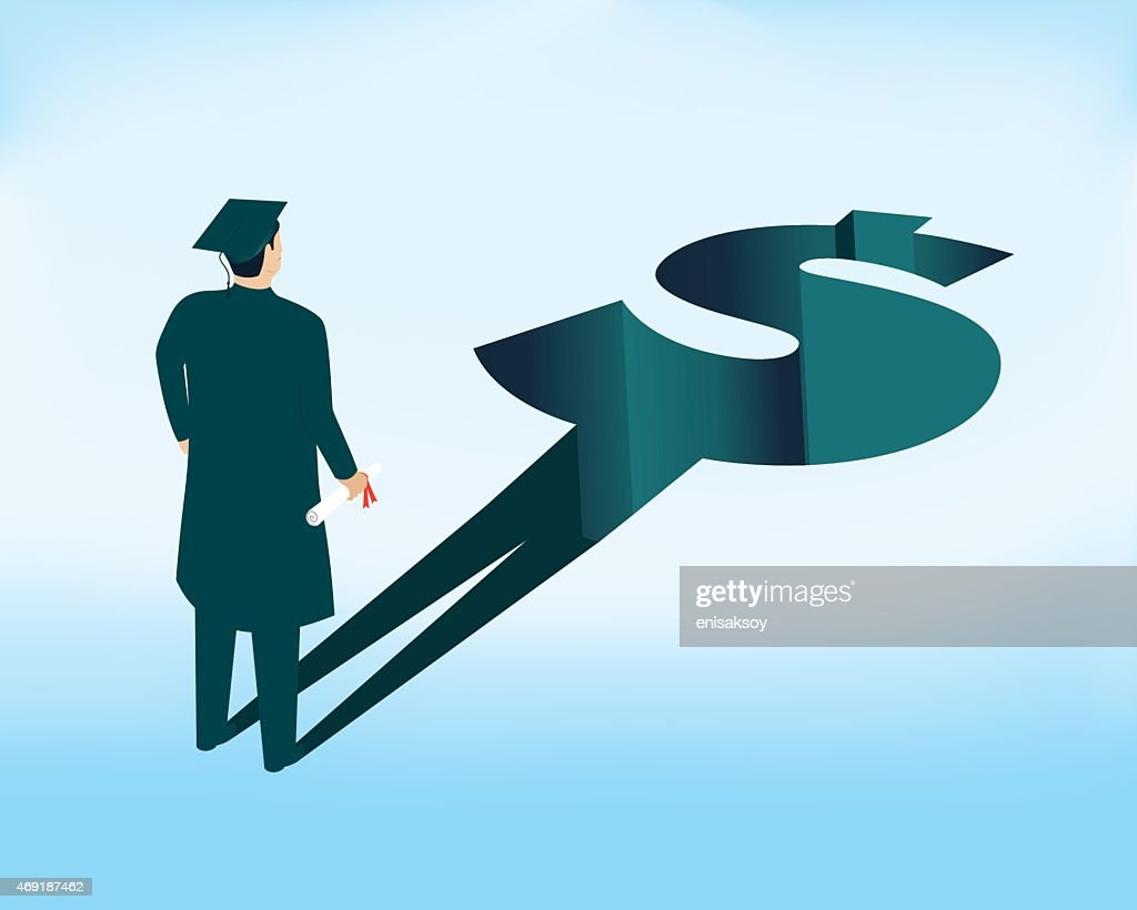Repayment of student loans after graduation : stock illustration