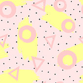 Repeated brush strokes and geometric shapes drawn by hand. Stylish geometric seamless pattern for girls. Grunge, sketch, watercolour.