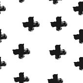 Repeated crosses painted with a brush. Seamless pattern. Grunge, sketch, ink, graffiti, watercolor. Black elements on a white background.
