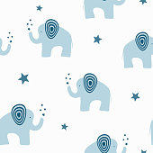 Repeated cute elephants with stars. Cartoon seamless pattern. Endless print for children.