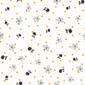Repeated irregular polka dot and flowers drawn by hand. Floral seamless pattern. Doodle, sketch, scribble.