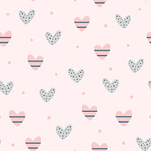 Repeating cute hearts and round dots. Romantic seamless pattern. Endless lovely print.
