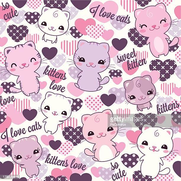 ilustrações de stock, clip art, desenhos animados e ícones de repetir gatinhos padrão - kawaii