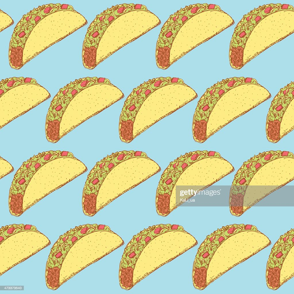 A repeating pattern of Mexican tacos on a blue background