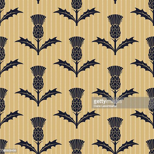 repeating scottish thistle pattern - thistle stock illustrations, clip art, cartoons, & icons