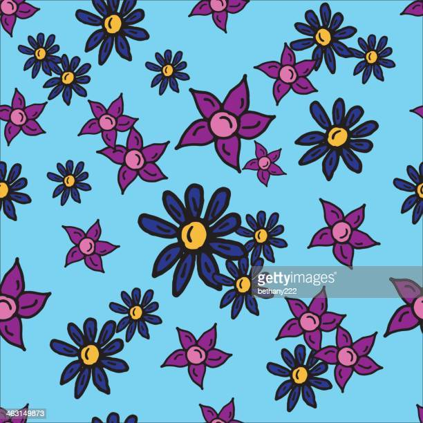 repeating seamless pink and blue flower random pattern design - {{relatedsearchurl('racing')}} stock illustrations, clip art, cartoons, & icons
