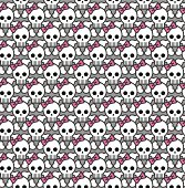 Repeating skull and bones with a pink bow pattern