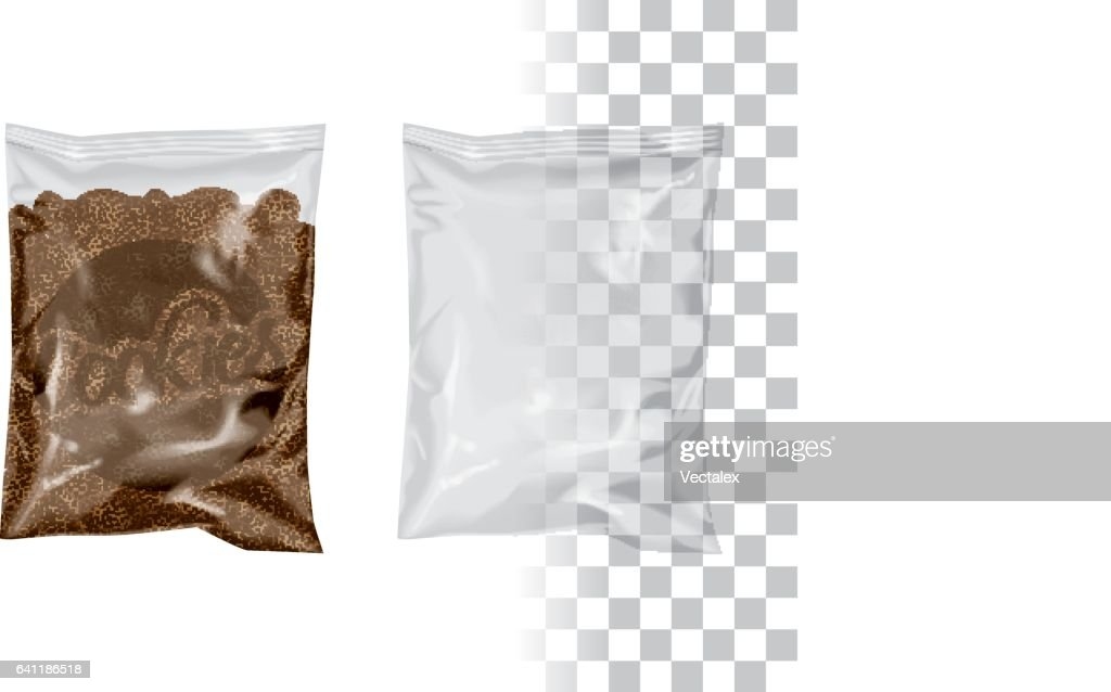 """Replace Product for your Product, Change """"Cookies"""" by your Logo/Design Mockup Transparent Plastic Package Foil Bag Pouch Snack Cookie Chips"""