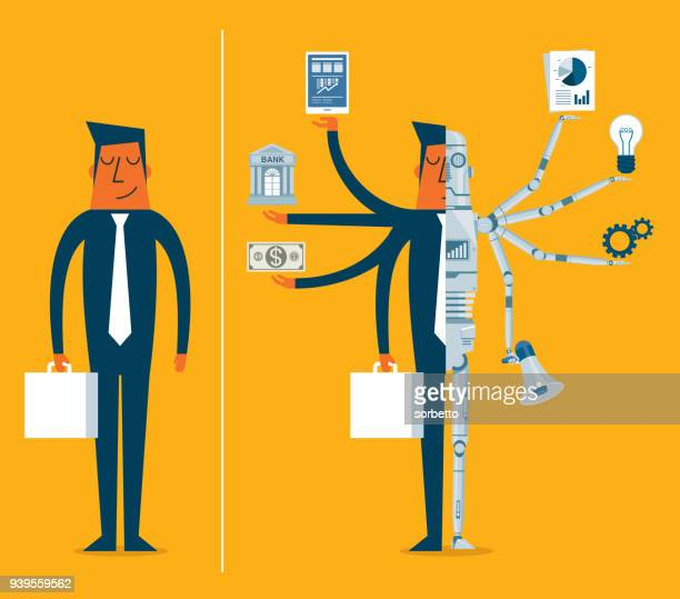 replacing people with robots - businessman - cyborg stock illustrations, clip art, cartoons, & icons