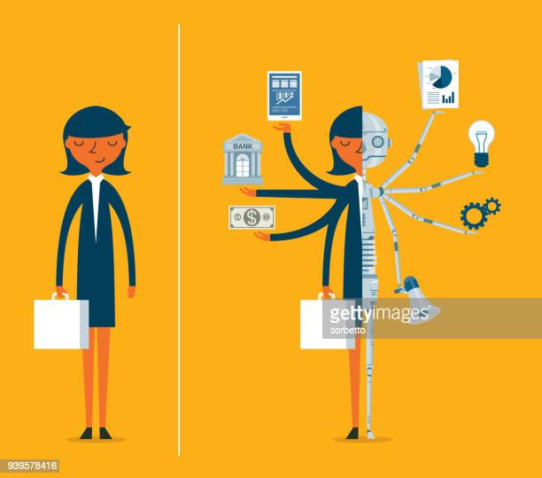 Replacing people with robots - Businesswoman