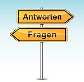 reply and ask signs (german translation)