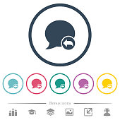Reply blog comment flat color icons in round outlines