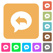 Reply message rounded square flat icons